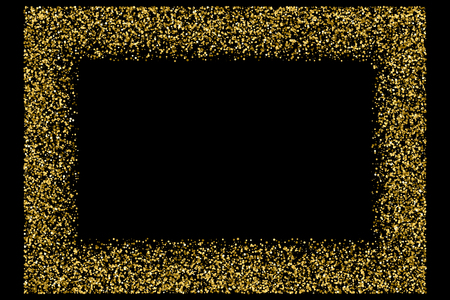 Gold frame glitter texture isolated on black. Amber particles color. Celebratory background. Golden explosion of confetti. Vector illustration,eps 10.