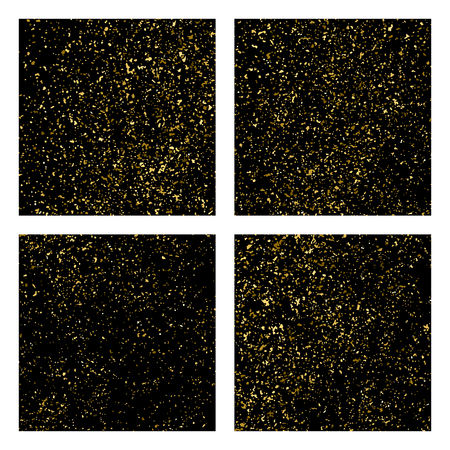 Gold glitter texture isolated on black square. Amber particles color. Celebratory background. Golden explosion of confetti. Set vector illustration,eps 10.