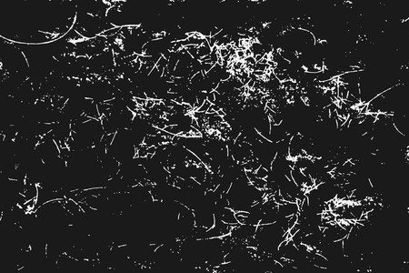 Illustration for White scratches isolated on black background. Particles overlay texture. Grunge design elements. Vector illustration,eps 10. - Royalty Free Image