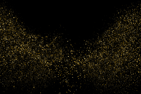 Illustration for Gold Glitter Texture Isolated On Black. Amber Particles Color. Celebratory Background. Golden Explosion Of Confetti. Design Element. Digitally Generated Image. Vector Illustration, Eps 10. - Royalty Free Image