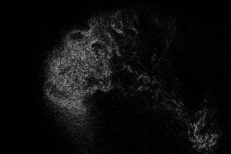 Illustration for White Grainy Texture Isolated On Black Background. Dust Overlay. Light Coloured Noise Granules. Snow Vector Elements. Digitally Generated Image. Illustration, Eps 10. - Royalty Free Image