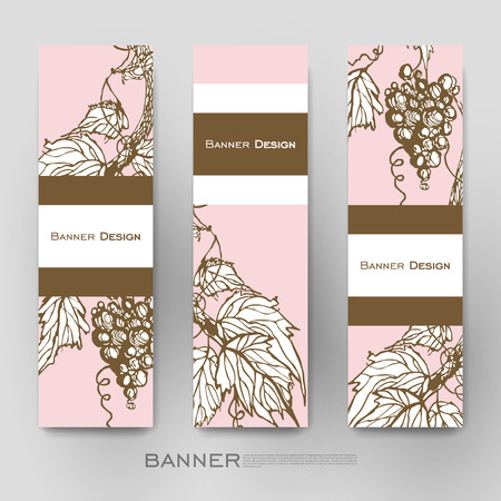 Beautiful Banner Vector Template With Grapes Ornament Background Creative Modern Design Royalty Free Vector Graphics