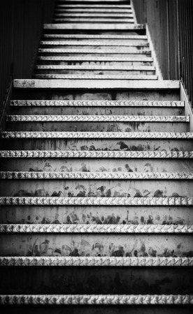Emergency metal stairs, detail of an access for people