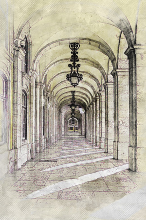 Photo pour Excerpts from a square of Lisbon, detail of a typical square of Portugal - image libre de droit