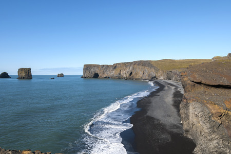 landscape on the coast of Vik in Iceland
