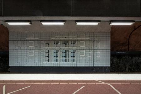 Photo pour Stockholm, Sweden. September 2019.  A view of the decorations of  Sundbybergs Centrum Metro Station platforms - image libre de droit