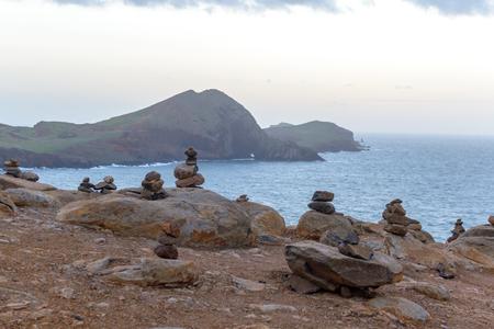 Pyramids of stones on the island of Madeira, Cape San Lorenzo