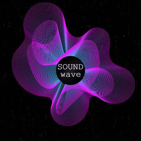 Illustration pour Music waves. Neon poster. Big data. Futuristic Visualization. 3d wave. Virtual flow. Digital sound. Vector illustration. Abstract colorful neon poster. - image libre de droit