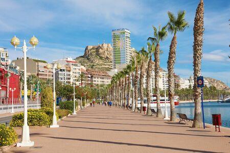 Photo for ALICANTE, SPAIN - NOVEMBER 29, 2019: Alicante promenade Mediterranean sea destination in Spain, Europe - Royalty Free Image