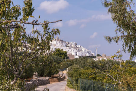 Panoramic view of the medieval white village of Ostuni