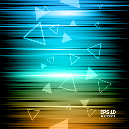 Abstract composition, shiny geometric shape flare, visual colored lines light, flying triangle radiance icon, effulgence logo construction, glory screen saver, luster sheen