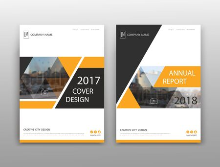 Illustration pour Abstract binder layout. White a4 brochure cover design. Fancy info text frame. Creative ad flyer font. Title sheet model set. Modern vector front page. Elegant city banner. Yellow triangle figure - image libre de droit