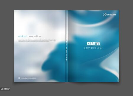 Illustration pour White, blue elegant design for brochure cover, info banner frame, title sheet. Modern vector front page art with sky clouds theme. Creative air figure icon. Fancy composition for flyer or ad text - image libre de droit