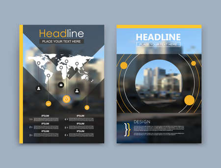 Illustration for Abstract a4 brochure cover design. Black text frame surface. Urban city view font. Title sheet model set. Modern vector front page. Firm banner texture. Yellow circle figure icon. Round ad flyer fiber - Royalty Free Image
