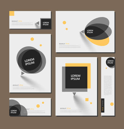 Illustration pour Abstract flyer art. Yellow brochure cover design. Info banner frame. Elegant ad text font. Title sheet model set. Fancy vector front page. Square printed blurb. Yellow, black figures icon. Diary binder - image libre de droit