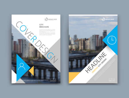 Illustration pour Abstract a4 brochure cover design. Template for banner, business card, title sheet model set, flyer, ad text font. Modern vector front page art with urban city river bridge. Blue, yellow triangle - image libre de droit