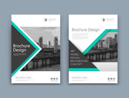 Illustration pour Abstract a4 brochure cover design. Template for banner text, ad business card, title sheet model set, info flyer font. Patch vector front page art with urban city river bridge. Green lines figure - image libre de droit