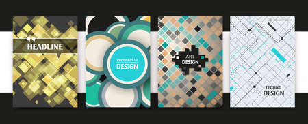 Illustration pour White, green, yellow a4 book binder mockup. Brochure cover design. Title sheet model set. Modern vector front page art. Info board. Square mosaic frame, lozenge inlay, circles icon. Ad flyer text font - image libre de droit