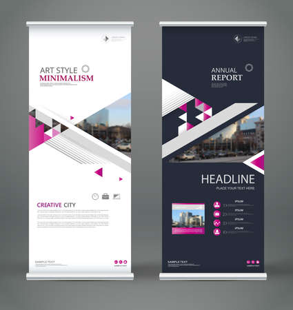 Illustration pour Abstract composition. White roll up brochure cover design. Info banner frame. Text font. Title sheet model set. Modern vector front page. City view brand flag. Triangle figures icon. Ad flyer fiber - image libre de droit