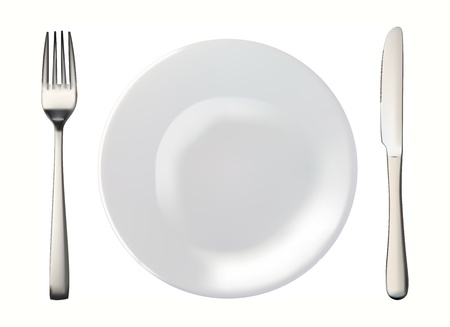 Knife, white plate and fork isolated vector