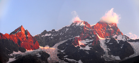 view of the peaks of Monte Rosa at sunrise