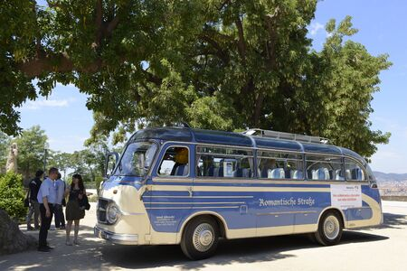 The Romantic route in Barcelona. Monjuic mountain.  Old bus in front of the Miramar gourmet restaurant.