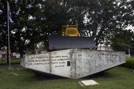 Yellow Caterpillar bulldozer used by Che Guevara to derail an armoured train at battle of Santa Clara in the Cuban revolution.