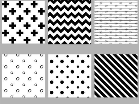 Illustration for Set of black and white scandinavian seamless patterns. Stock vector. - Royalty Free Image