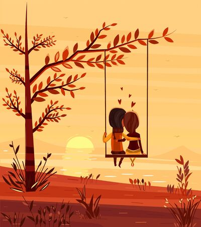 Illustration for Two lovers sitting on a swing at sunset on the ocean. Modern design stylish illustration. Retro flat vector background. Valentines Day Card. - Royalty Free Image