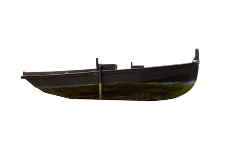 Photo pour image of black wooden fishing boat isolated on white background - image libre de droit