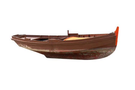Photo pour brown wooden fishing boat isolated on white background - image libre de droit