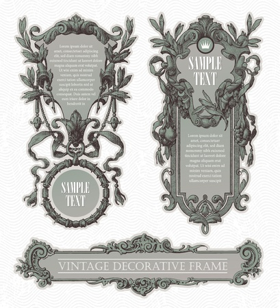 Illustration for Vintage engraved decorative ornate vector frames - Royalty Free Image