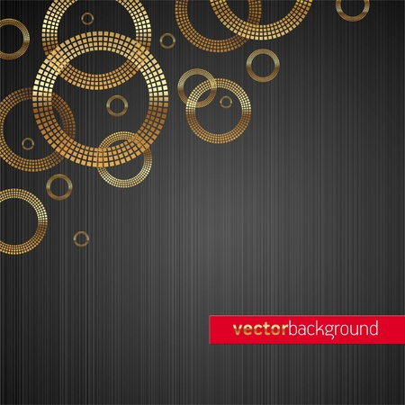 Abstract vector metal texture background with golden luxury shiny circles