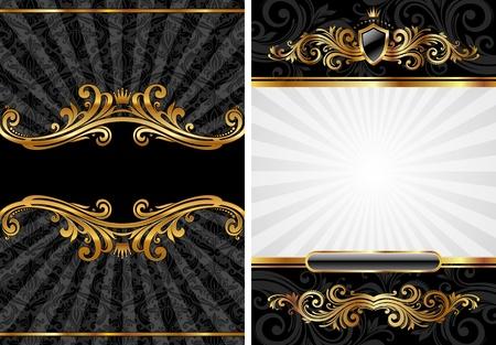 Illustration for Vector set of gold & black luxury decorative background - Royalty Free Image