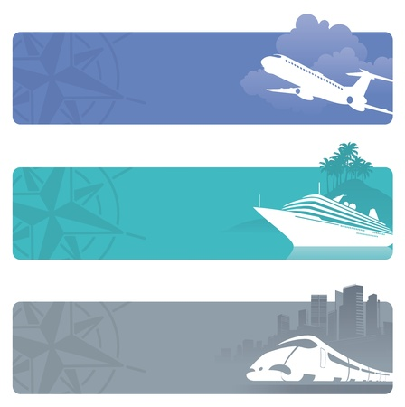 Photo for Travel vector banners with contemporary transport - Royalty Free Image