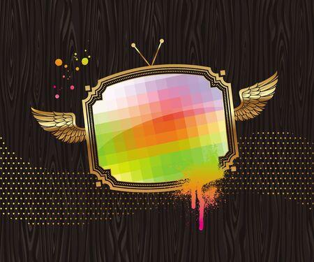 Vector illustration - pixelated TV screen in vintage golden winged frame on a black wood background
