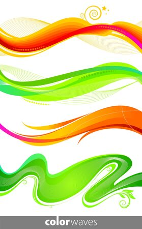 Vector set of colorful waves