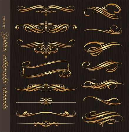 Illustration for Golden calligraphic vector design elements on a black wood texture background - Royalty Free Image
