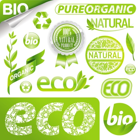 Vector set of eco signs, labels, emblems & logo