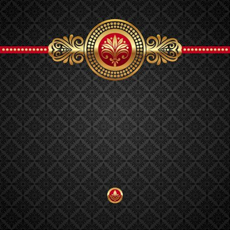 Illustration for Vector decorative ornamental background with golden elements - Royalty Free Image