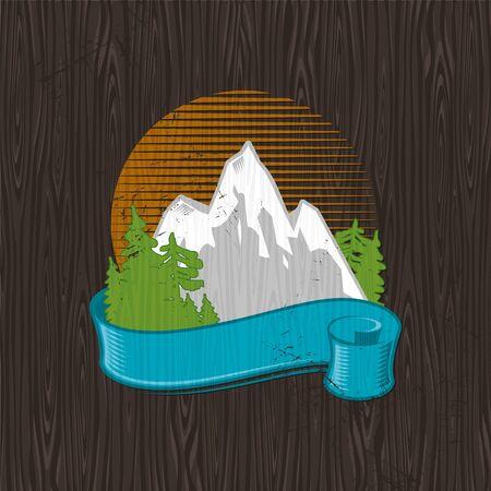 Vector illustration - color landmarks emblem painting on a black wood board