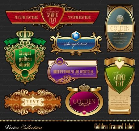 Vector set of golden luxury framed labels