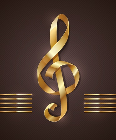 Gold ribbon in the shape of treble clef
