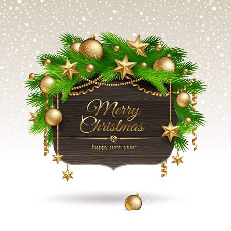 Wooden banner with Christmas golden decoration -  illustration