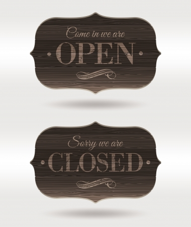 Retro wooden signs - Open and Closedのイラスト素材