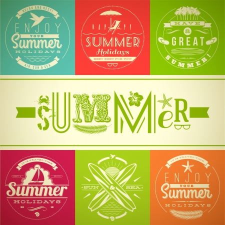 Illustration pour Set of summer vacation and holidays emblems with lettering and travel symbols - vector illustration - image libre de droit