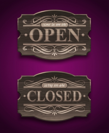 Open and Closed wooden ornate vintage signs - vector illustration