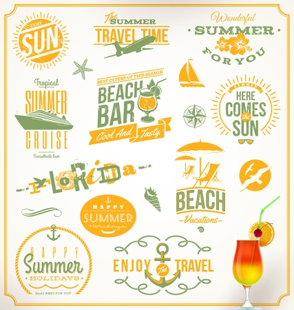 Photo for Vector set of travel and vacation emblems and symbols - Royalty Free Image
