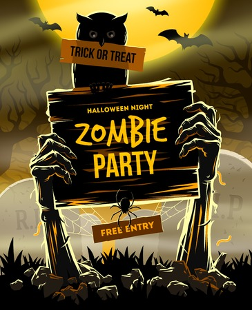 Halloween illustration - Dead Man's arms from the ground with invitation to zombie party