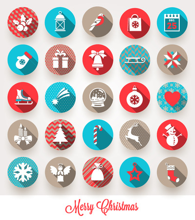 Illustration pour Vector set of Christmas flat icons with long shadows - image libre de droit